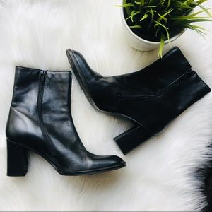 J. CREW Italian Leather Block Heel Ankle Boots 6.5